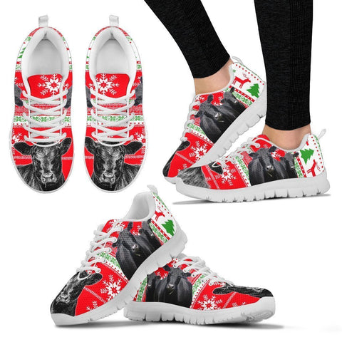 Angus Cattle Cow Christmas Running Shoes For Women- Free Shipping-Paww-Printz-Merchandise
