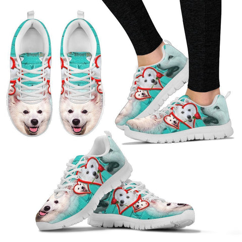 American Eskimo With With Rose Print Running Shoe For Women-Free Shipping-Paww-Printz-Merchandise