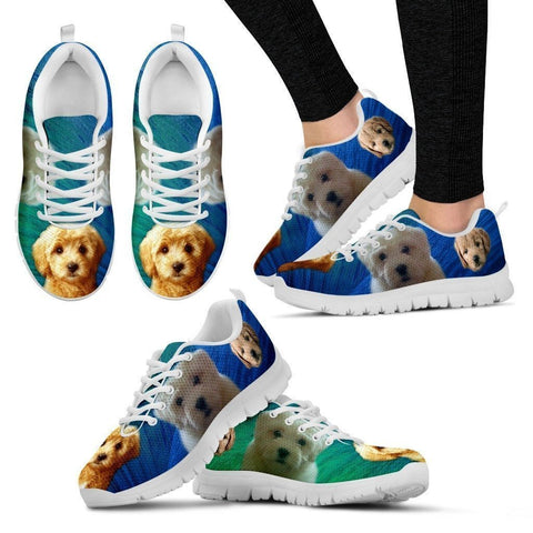 Beautiful Goldendoodle Print Sneakers For Women (White/ Black)- Free Shipping-Paww-Printz-Merchandise