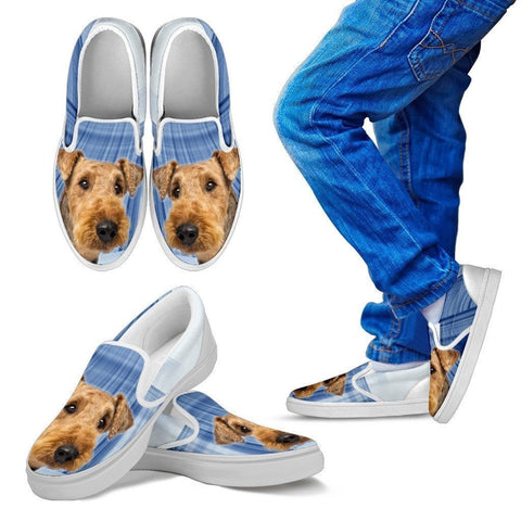 Airedale Terrier Print Slip Ons For Kids- Express Shipping-Paww-Printz-Merchandise
