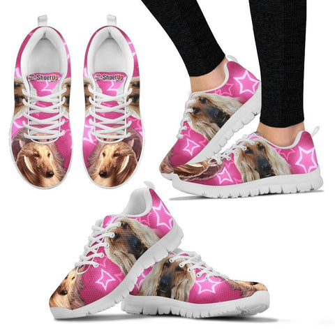 Afghan Hound On Pink Print Running Shoes For Women- Free Shipping-Paww-Printz-Merchandise
