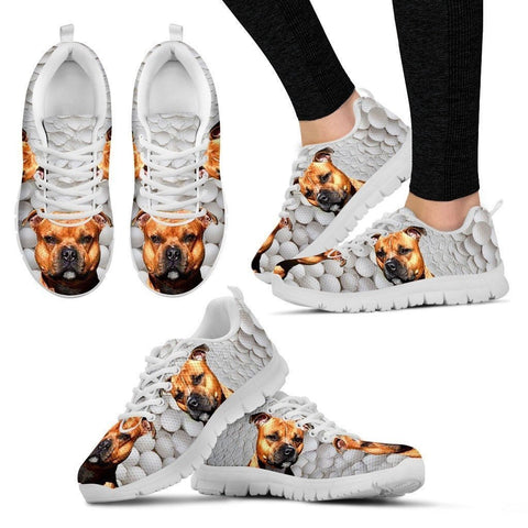 Amazing Staffordshire Bull Terrier Print Running Shoes By Camilla Sanner For Women-Express Shipping-Paww-Printz-Merchandise