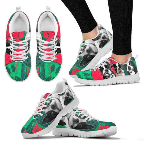 Boston Terrier Christmas Running Shoes For Women- Free Shipping-Paww-Printz-Merchandise