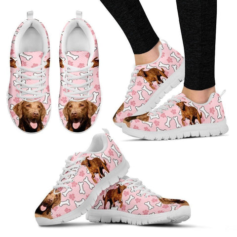 Chesapeake Bay Retriever Print Sneakers For Women(White/Black)- Express Shipping-Paww-Printz-Merchandise