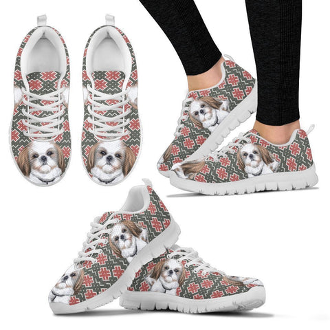 Shih Tzu Christmas Print Running Shoes For Women-Free Shipping-Paww-Printz-Merchandise