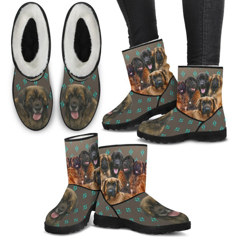 Leonberger Dog Print Faux Fur Boots For Women-Free Shipping-Paww-Printz-Merchandise