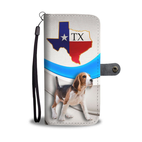Beagle Walking Print Wallet Case-Free Shipping-TX State