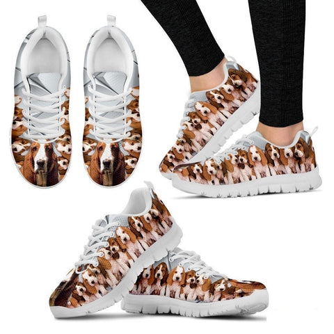 Basset Hound With Puppies Dog Running Shoes For Women-Free Shipping-Paww-Printz-Merchandise