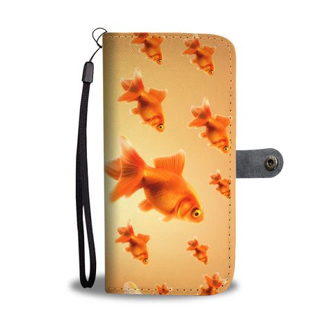 Golden Fish Patterns Print Wallet Case-Free Shipping