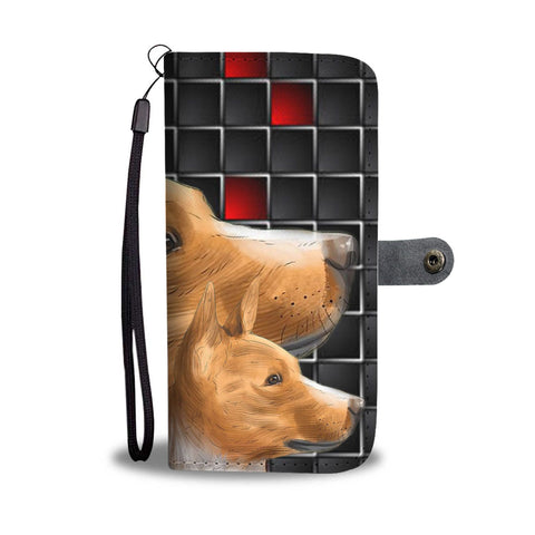 Cute Three Basenji Dog with red Squares Print Wallet Case-Free Shipping