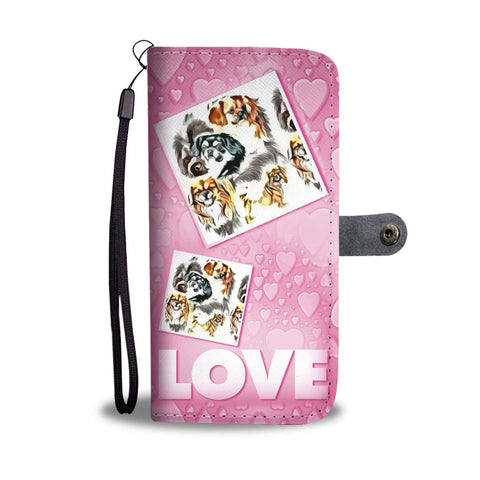 Tibetan Spaniel with Love Print Wallet Case-Free Shipping