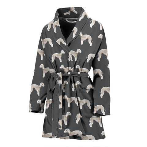 Bedlington Terrier Dog Pattern Print Women's Bath Robe-Free Shipping