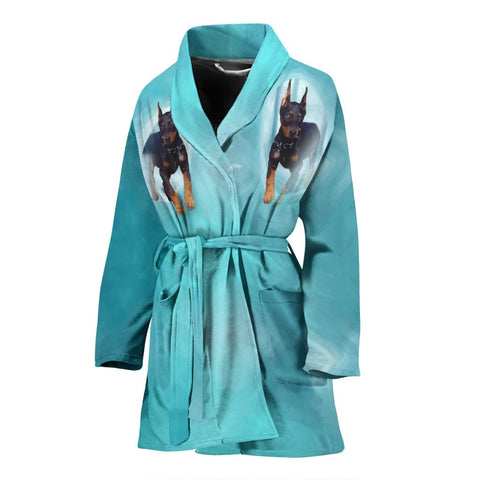 Doberman Pinscher Dog Print Women's Bath Robe-Free Shipping