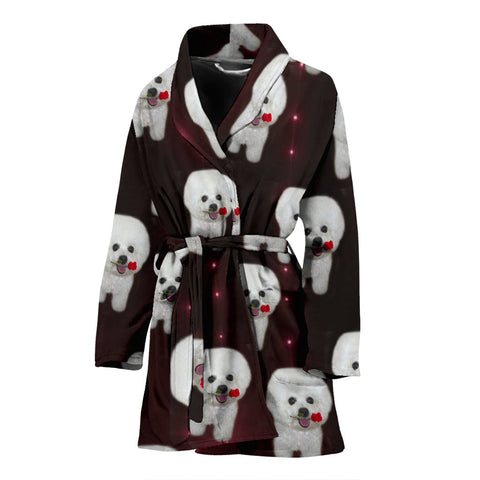 Bichon Frise Dog Print Women's Bath Robe-Free Shipping
