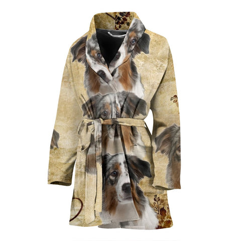 Cute Australian Shepherd Print Women's Bath Robe-Free Shipping