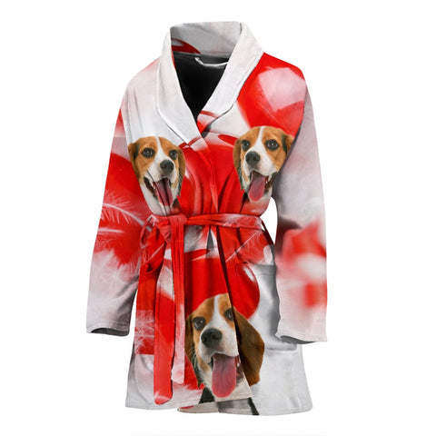 Beagle On White Print Women's Bath Robe-Free Shipping