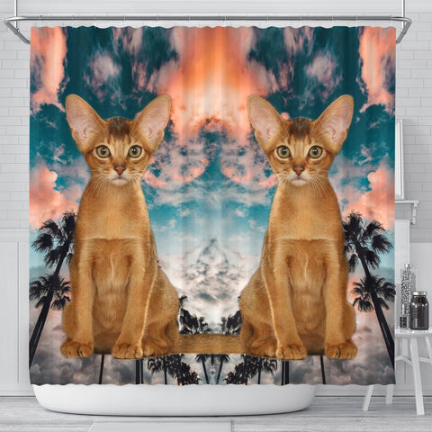 Abyssinian Cat Print Shower Curtains-Free Shipping
