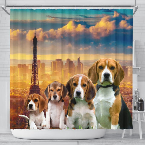 Beagle Print Shower Curtain-Free Shipping