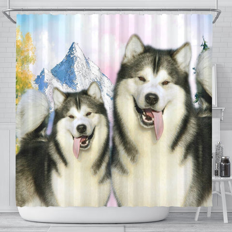 Cute Alaskan Malamute Print Shower Curtains-Free Shipping