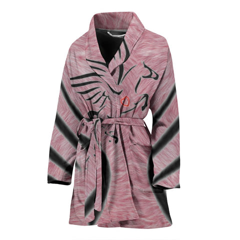 Percheron Horse Print On Pink Women's Bath Robe-Free Shipping