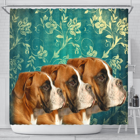 Lovely Boxer Dog Print Shower Curtains-Free Shipping