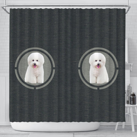 Cute Bichon Frise Dog Print Shower Curtain-Free Shipping