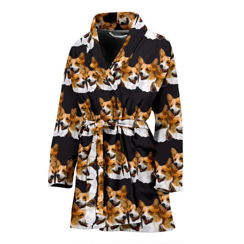 Cardigan Welsh Corgi Dog Pattern Print Women's Bath Robe-Free Shipping