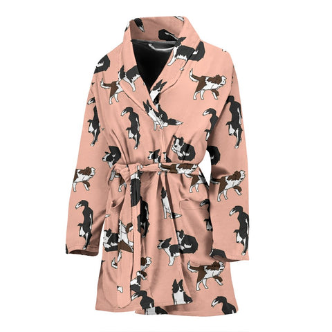 Amazing Border Collie Dog Pattern Print Women's Bath Robe-Free Shipping