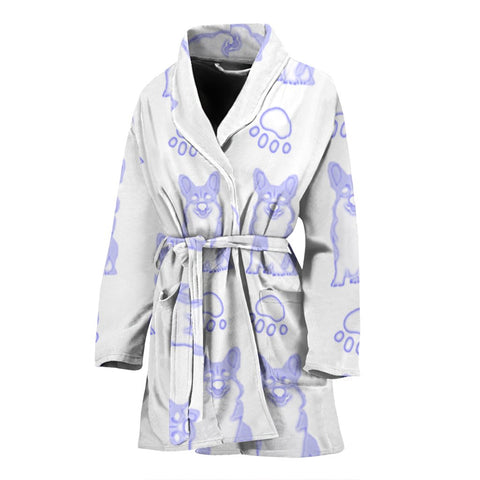 Pembroke Welsh Corgi Paws Print Women's Bath Robe-Free Shipping