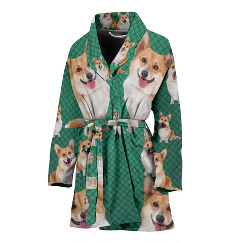 Amazing Cardigan Welsh Corgi Dog Print Women's Bath Robe-Free Shipping
