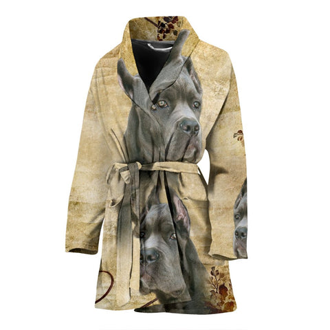 Cute Cane Corso Print Women's Bath Robe-Free Shipping