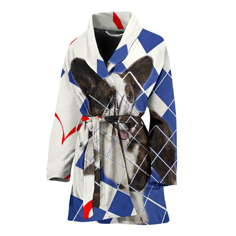 Cute Cardigan welsh corgi Dog Print Women's Bath Robe-Free Shipping