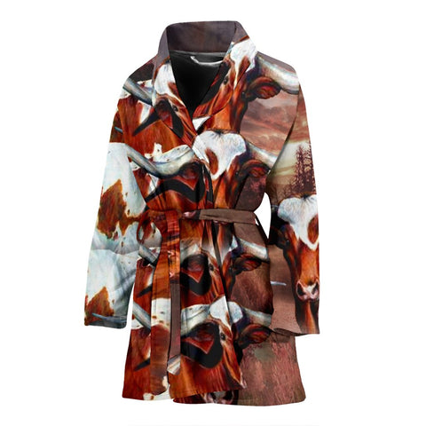 Texas Longhorn Cattle (Cow) Print Women's Bath Robe-Free Shipping