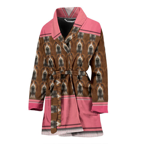 Basset Hound Dog Print Women's Bath Robe-Free Shipping