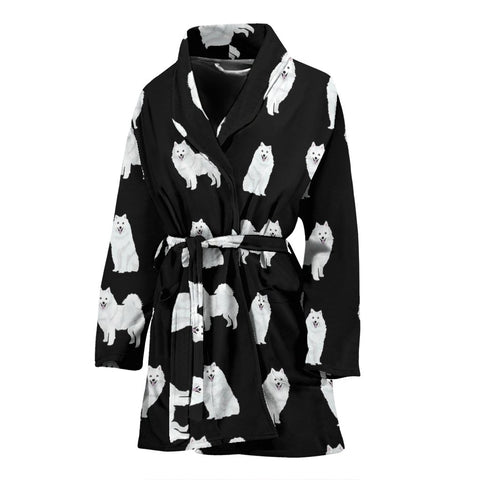 American Eskimo Dog Pattern Print Women's Bath Robe-Free Shipping