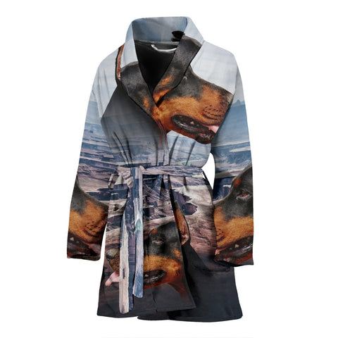 Dobermann Print Women's Bath Robe-Free Shipping