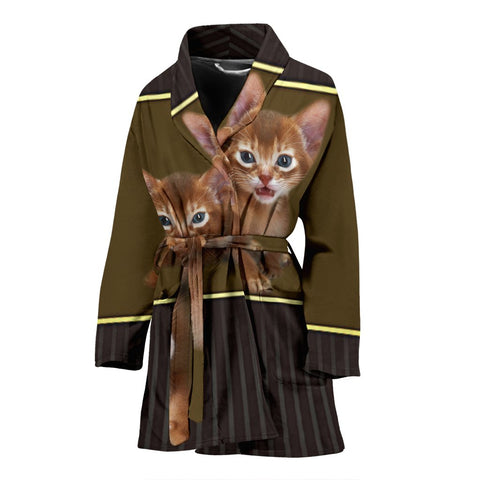 Abyssinian Cat Print Women's Bath Robe-Free Shipping