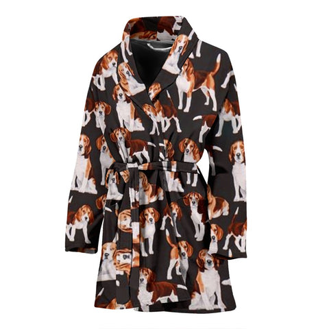 Beagle Dog In Lots Print Women's Bath Robe-Free Shipping