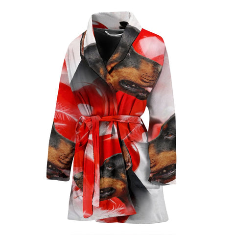 Dobermann On White Print Women's Bath Robe-Free Shipping