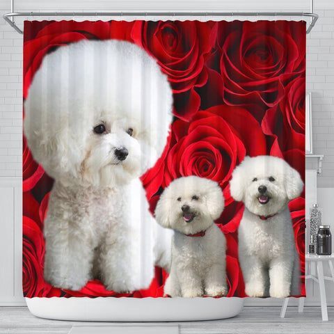 Bichon Frise On Rose Print Shower Curtain-Free Shipping