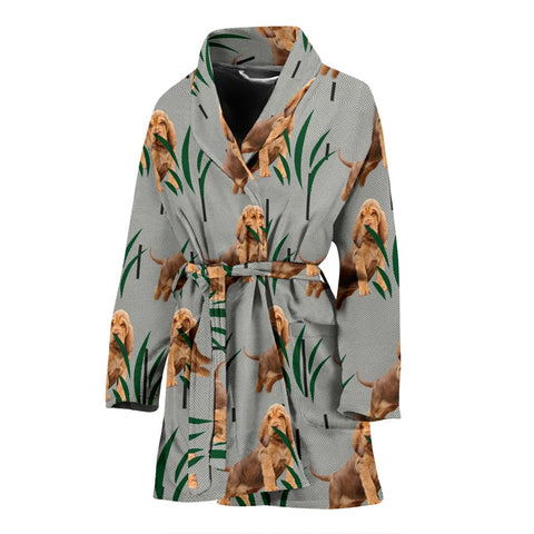 Bloodhound dog Print Women's Bath Robe-Free Shipping