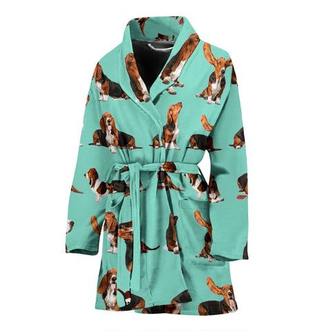 Amazing Basset Hound Dog Pattern Print Women's Bath Robe-Free Shipping