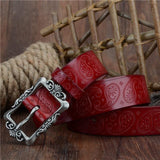 Women's leather belt with embossed pattern