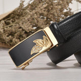 Women's belt with automatic buckle and pattern