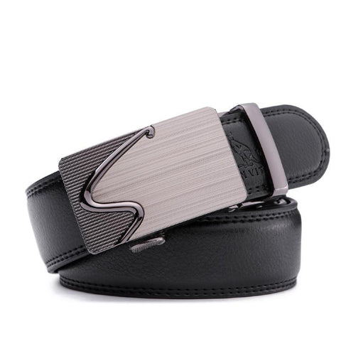 Stylish leather belt with automatic buckle