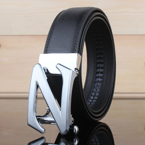Men's leather belt, with Z-shaped buckle