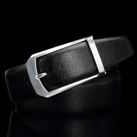Business belt with silver buckle
