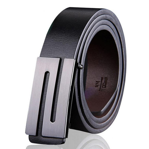 Men's leather belt with S-shaped buckle
