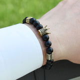 Men's lace-up bracelet. Crown - Plus Style