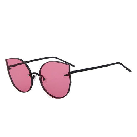 Cat's eye sunglasses on thin metal frame
